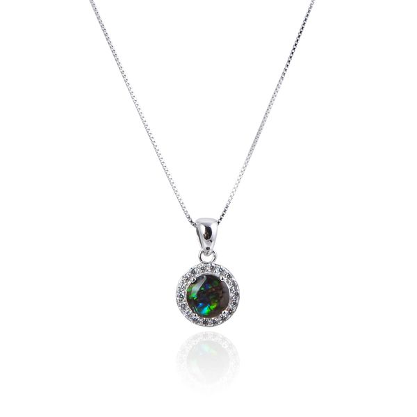 925 Sterling Silver,Ammolite,Round Pendant,33OP98