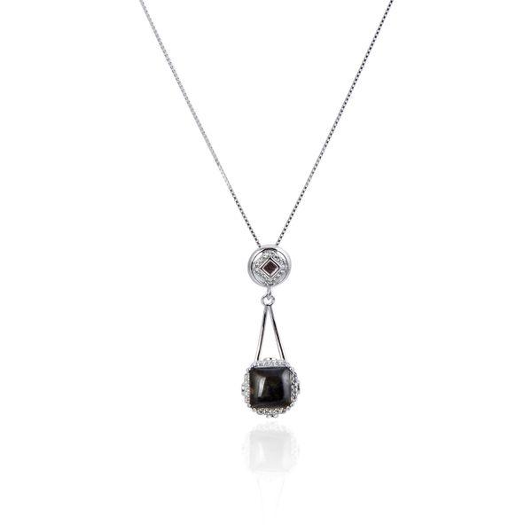 925 Sterling Silver,Ammolite,Square Pendant,33003