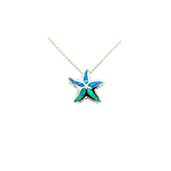 925 SILVER BLUE LAB OPAL STARFISH INLAID PENDANT- 33029-K5