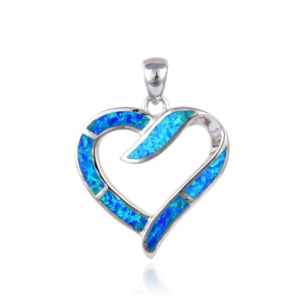 925 Sterling Silver Rhodium Plated Simulated Blue Opal Heart Pendant-33op60-k5