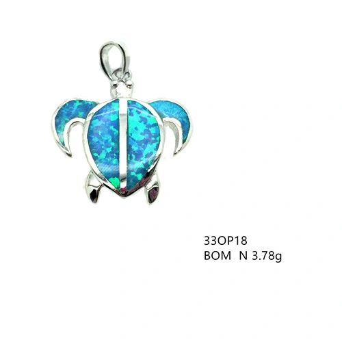 925 Sterling Silver Rhodium Plated Simulated Blue Opal TURTLE Pendant-33op18-k5