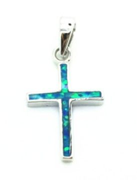 925 Sterling Silver Rhodium Plated Simulated Blue Opal CROSS Pendant-33op132-k5