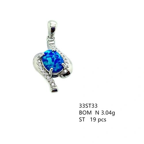 925 Sterling Silver Rhodium Plated Simulated Blue Opal Pendant-33st33-k6