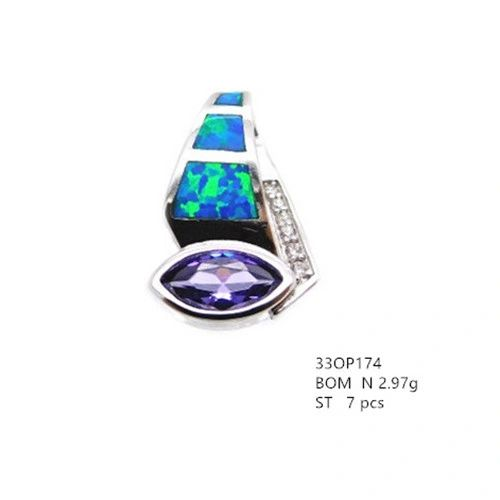 925 Sterling Silver Rhodium Plated Simulated Blue Opal Inlaid Pendant with amethyst cz -33op174