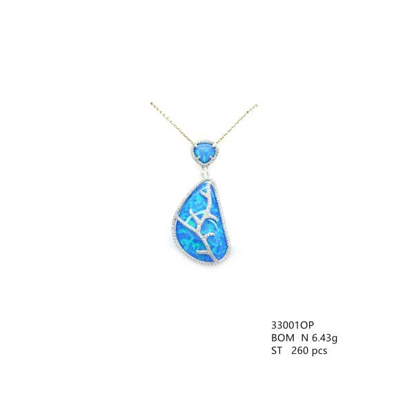 925 Silver Stimulated Blue Opal Vintage Leaf Pendant-Necklace -33001-k5