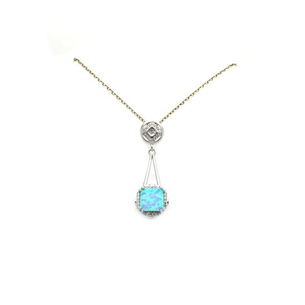 925 SILVER SQUARE PRINCESS CUT STIMULATED OPAL SLIDE PENDANT- NECKLACE - 33003-K6