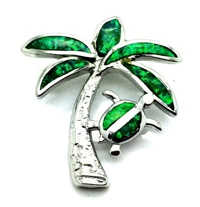 925 STERLING SILVER STIMULATE OPAL TURTLE PALM TREE PENDANT-33OP152-K5