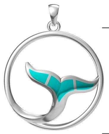925 SILVER STIMULATED OPAL WHALE TAIL CIRCLE PENDANT-SEA LIFE -33575-K5