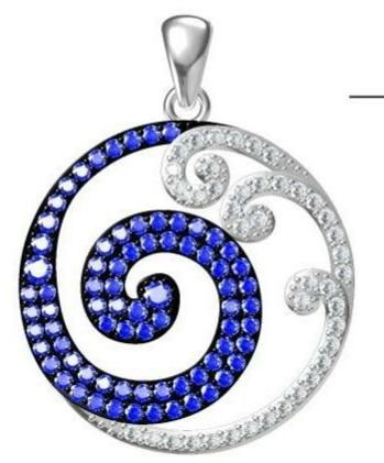 925 Silver Wave opal Pendants circle shape , 33576-cz