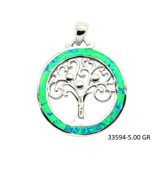 925 SILVER SIMULATED OPAL TREE OF LIFE PENDANT - 33594-K5