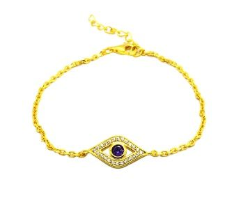 925 SILVER CZ AMETHYST EYE BRACELET GOLD PLATED-44003-GD