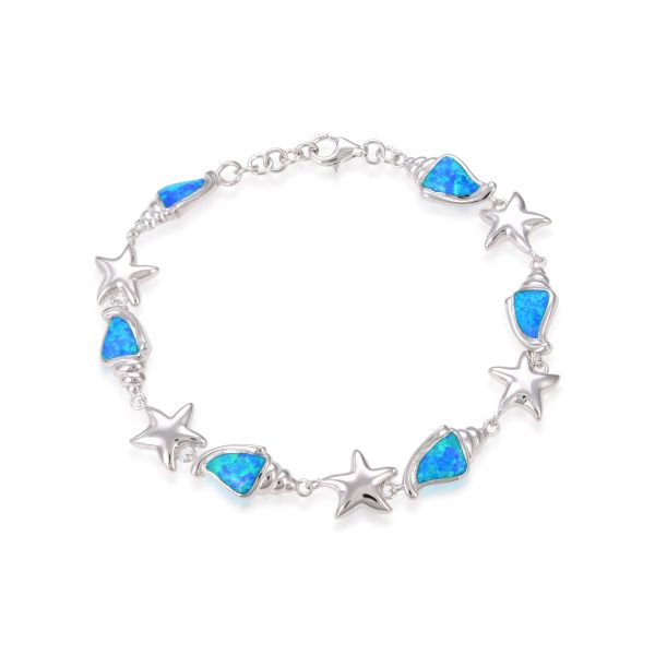 925 SILVER SEA SHELL AND START FISH BLUE OPAL BRACELET-44006-K5