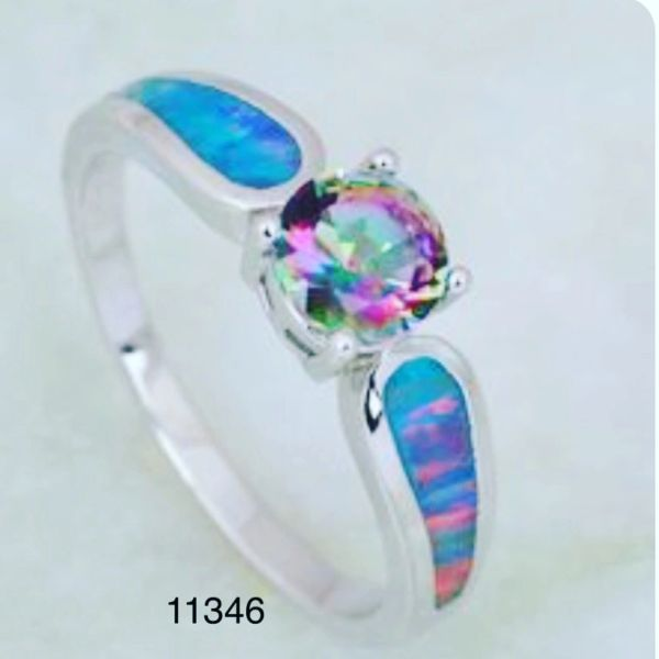925 SILVER LAB WHITE OPAL INLAID ROUND STONE RING AMETHYST CZ CENTER STONE - 11346-K5
