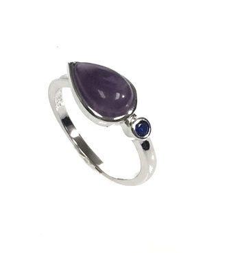 925 SILVER GEM STONE DROP SHAPE AMETHYST RING- 11327-AM