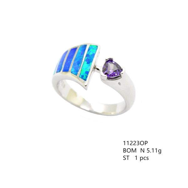 925 SILVER SIMULATED OPAL-INLAID SETTING AMETHYST CENTER - 11223-K5-AM