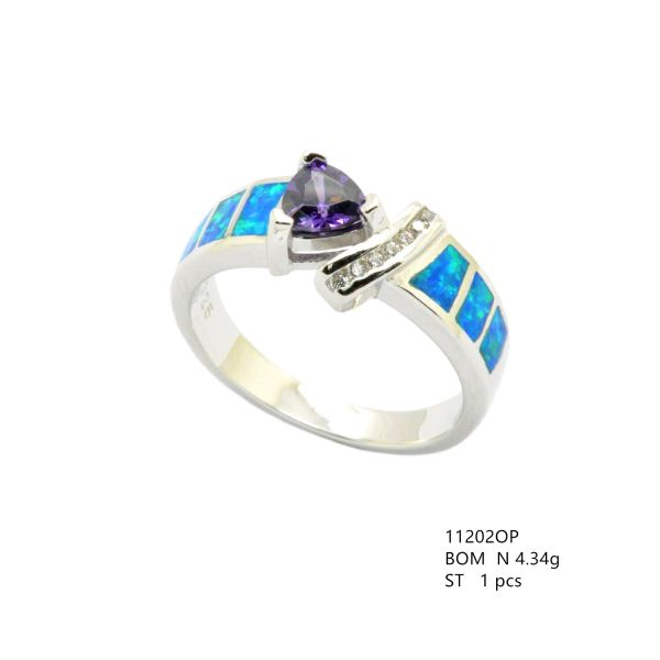 925 SILVER SIMULATED INLAID OPAL RING WITH CZ AMETHYST CENTER STONE -11202-K5-AM