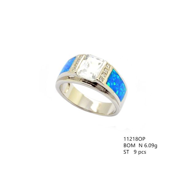 925 SILVER SIMULATED INLAID OPAL RING ,UNISEX, WHITE CZ CENTER -11218-K5-WH