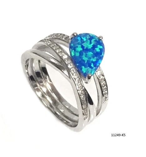 925 SILVER SIMULATED ART CORE OPAL RINGS -11249-K5