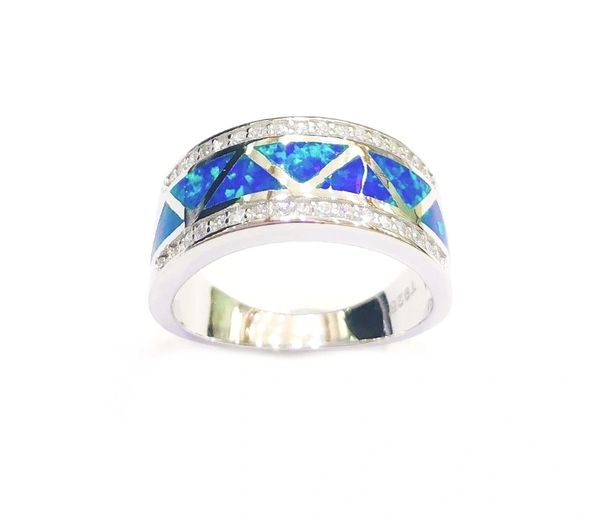 925 SILVER SIMULATED INLAID OPAL RING- 11262-K5