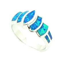 11OP22 STERLING SILVER INLAID OPAL RING
