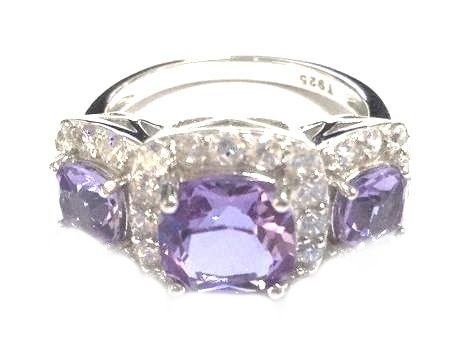 925 SILVER 3 STONE STYLE RING,COLOR CHANGING STONE TANZANIAN-AMETHYST- 11105-2