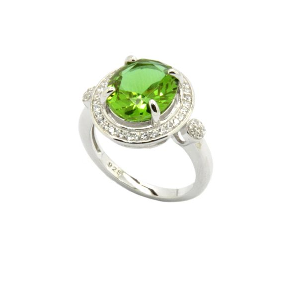 925 SILVER COLOR CHANGING STONE- GREEN SULTNITE OVAL STONE RING-11104-204