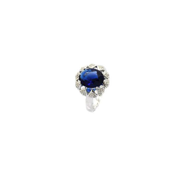 925 SILVER VINTAGE CZ SAPPHIRE BLUE RINGS-11005-SAPH
