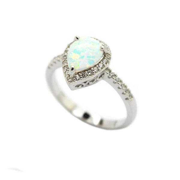 925 SILVER SIMULATED WHITE OPAL HALO RING-11130-K17