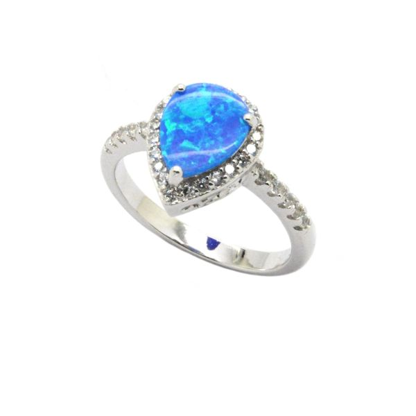 925 SILVER SIMULATED BLUE OPAL HALO DROP SHAPE RING-11130-K5