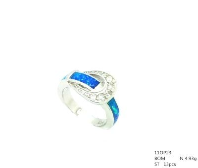 11OP23 925 STERLING SILVER INLAID OPAL BUCKEL RING-11OP23-K5