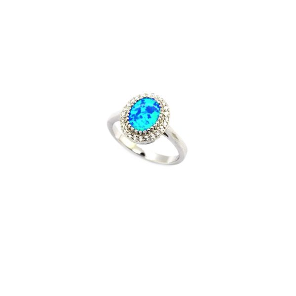 925 SILVER SIMULATED BLUE OPAL OVAL 6X8 MM STONE RINGS-11080-K5