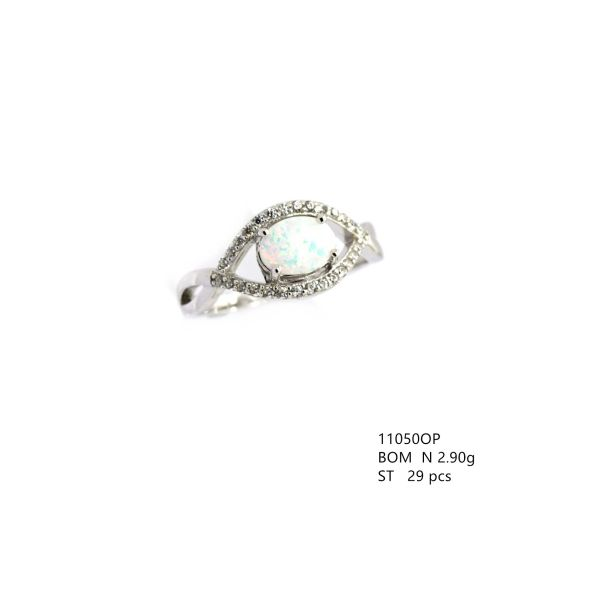 925 SILVER SIMULATED WHITE OPAL X RINGS-11050-K17