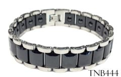TUNGSTEN BRACELET WIDE MAGNET LINKS 2 TONE TNB444
