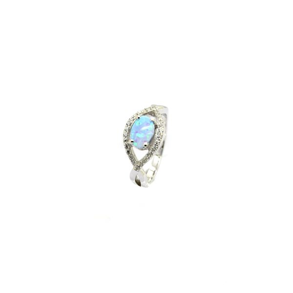 925 SILVER SIMULATED BLUE OPAL X RINGS-11050-K17