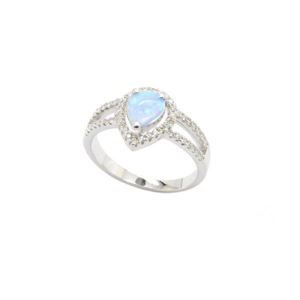 925 SILVER SIMULATED BLUE OPAL DROP SHAPE RINGS-11142-K6