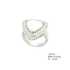 925 SILVER SIMULATED TRIANGLE SHAPE WHITE OPAL RING- 11ST10-K17