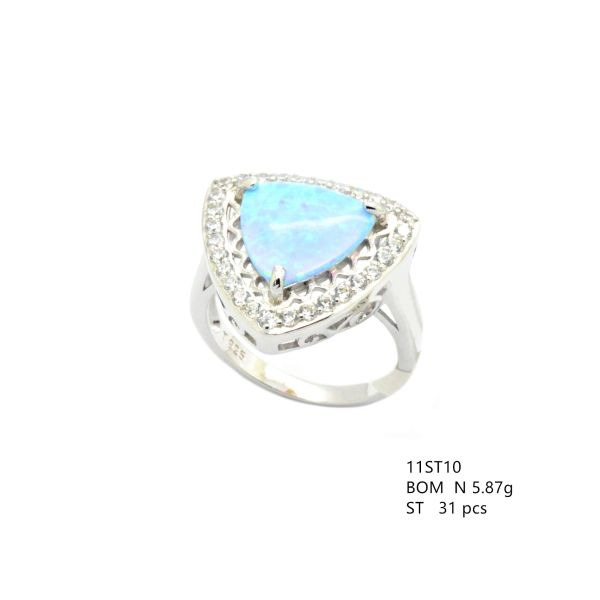 925 SILVER SIMULATED TRIANGLE SHAPE BLUE OPAL RING- 11ST10-K6