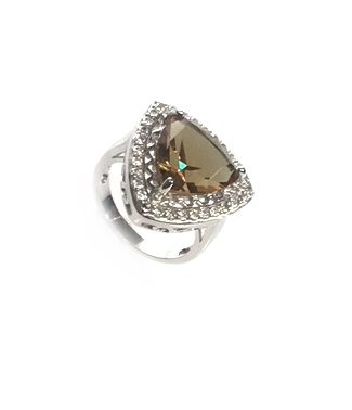 925 SILVER TRIANGLE SHAPE COLOR CHANGING PARAIBA CHOCOLATE RING- 11ST10-5