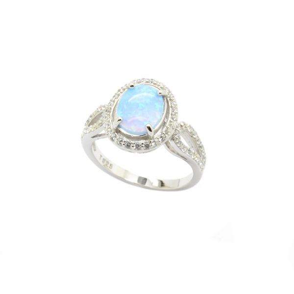 925 SILVER SIMULATED OPAL RING-OVAL 8x10 STONE-11157-K6