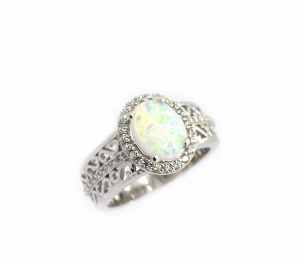 925 SILVER STIMULATED WHITE OPAL RING - 11ST27-K17