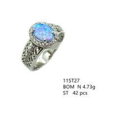 925 SILVER STIMULATED BLUE OPAL RING - 11ST27-K6