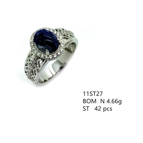 925 SILVER GEM NATURAL STONES - AMETHYST-LAPIS-JADE-AQUAMARINE-QUARTZ ring- 11st27-NATURAL STONES