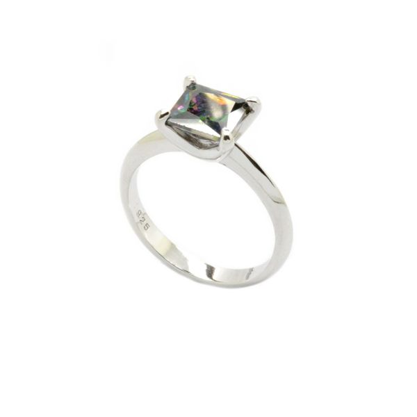 925 SILVER CZ MYSTIC TOPAZ,ZULTNITE-AMETHYST-DIAMOND CZ - PRINCESS CUT SQUARE RING-11103-MY