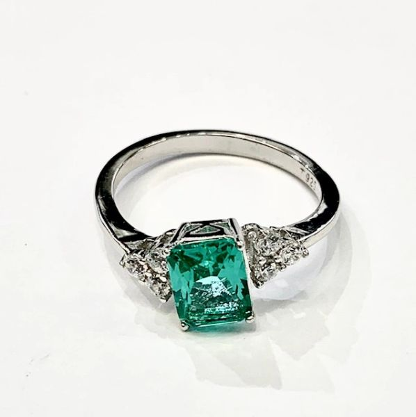 925 SILVER EMERALD CUT WEDDING RING PARAIBA- WHITE CZ - 11686-PR