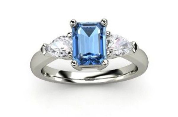 925 SILVER COLOR CZ - WHITE & BLUE OPAL RING- 11704-OP