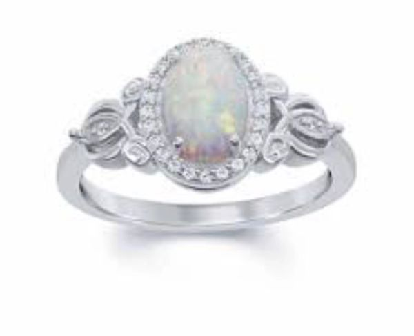 925 SILVER SIMULATED WHITE OPAL CALTIC OVAL RING- 11705-K17