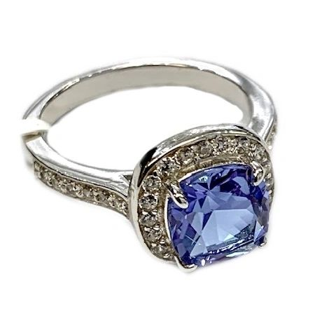 925 SILVER COLOR CHANGING TANZNITE STONE CUSHION CUT STONE RING-11726-2