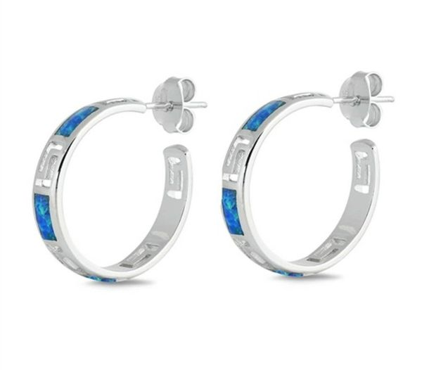 925 SILVER SIMULATED BLUE OPAL HOOP , CUFF EARRINGS - 22537-K5