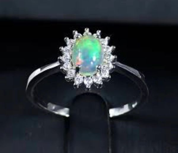 925 SILVER SIMULATED WHITE OPAL RING- 11682-K17
