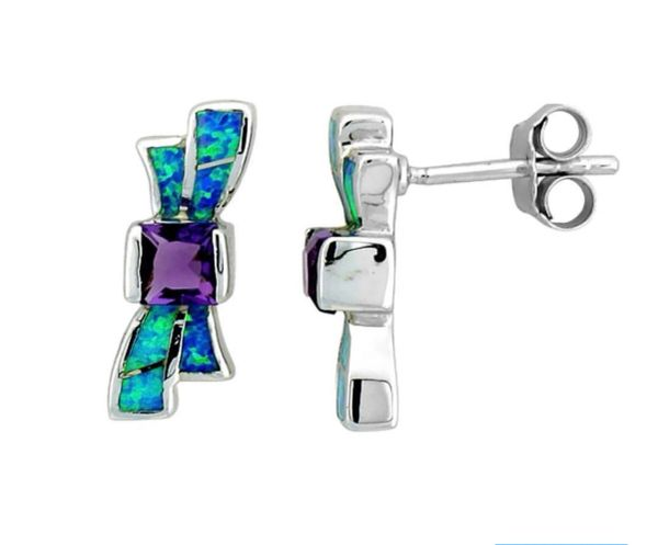925 SILVER SIMULATED INLAID OPAL WITH AMETHYST RIBBON EARRINGS - 22530-K5-CZ09